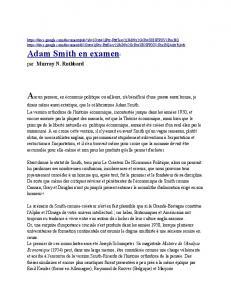 Adam Smith en examen