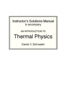 Instructor Solutions Manual Thermal Physics