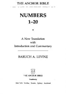 Numbers 1-20: A New Translation (Anchor Bible Series, Vol. 4A)